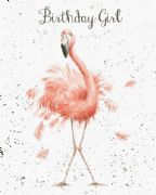 Wrendale Birthday Girl Pink Flamingo Birthday Card